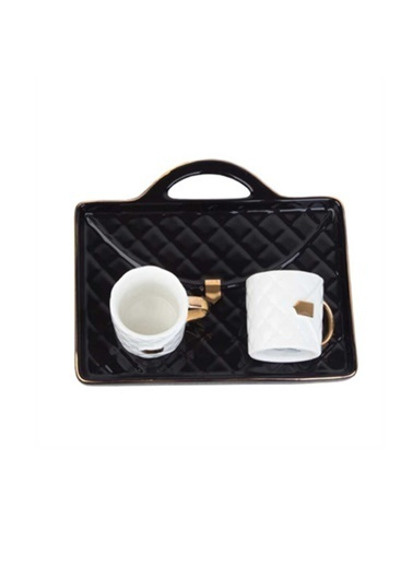 Acar Acar SHP-9863/12 2 Kişilik Porselen Kahve Fincan Takımı Siyah Renkli